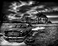 """Abandoned Dreams"" An Abandoned car and house in North Dakota"